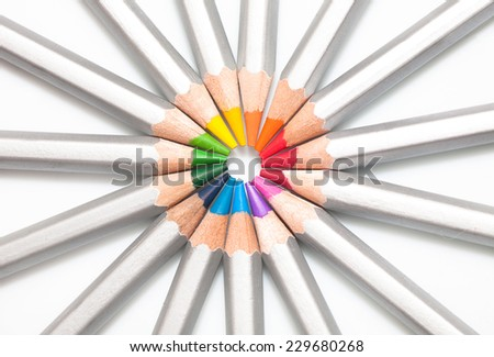 Graphite colored pencils lined as circle, close-up - stock photo