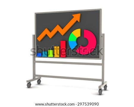 Graphs and board - stock photo