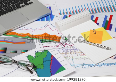graphs and charts/with PC - stock photo