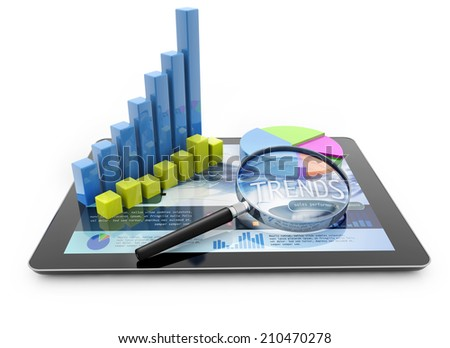 graphs and magnifier over a portable computer on white background - stock photo