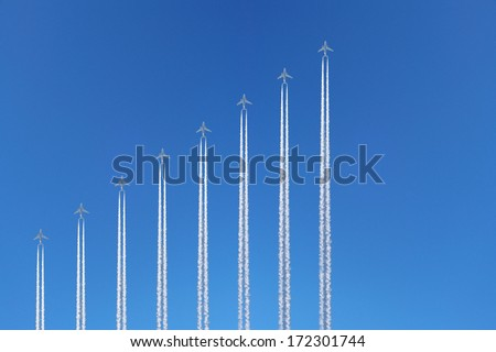 graphs of diagram made of airplanes and its trailes - stock photo