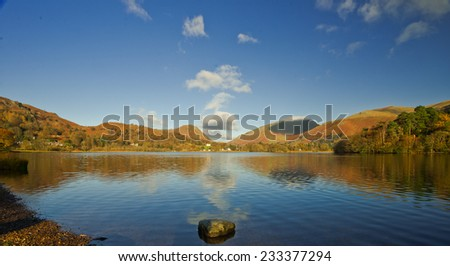 Grasmere and a view of the fells, Cumbria - stock photo