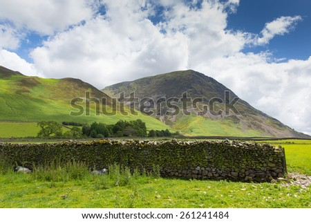 Grasmoor mountain by Crummock Water Lake District Cumbria England UK  - stock photo