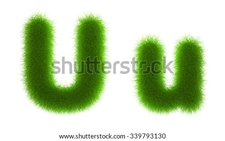 Grass Alphabet eco font isolated on white background,ideal for nature,conservation,natural,organic,education,ecology,environment,health,spring or summer