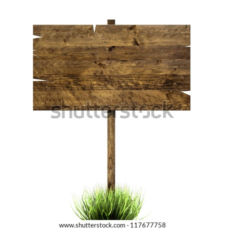grass and a wooden sign isolated on a white background - stock photo