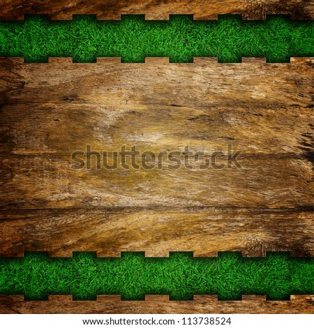 Grass background with stone frame