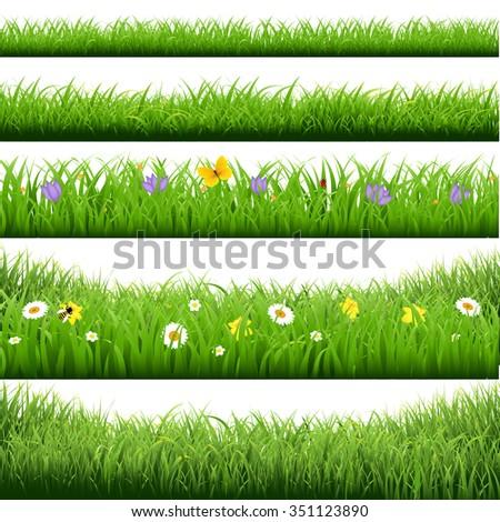 Grass Borders Big Set  - stock photo