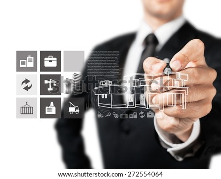 Grass. Businessman hand drawing house with modern computer interface as concept - stock photo
