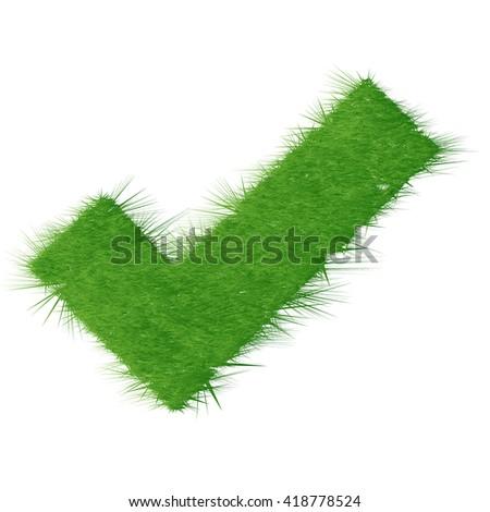 Grass Check mark - stock photo