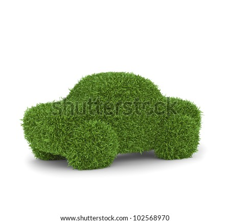 Grass covered car - green transport - stock photo