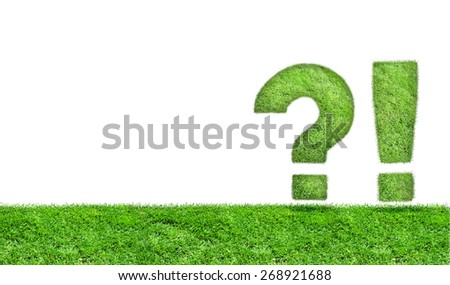 Grass exclamation mark and question mark on a green meadow. - stock photo