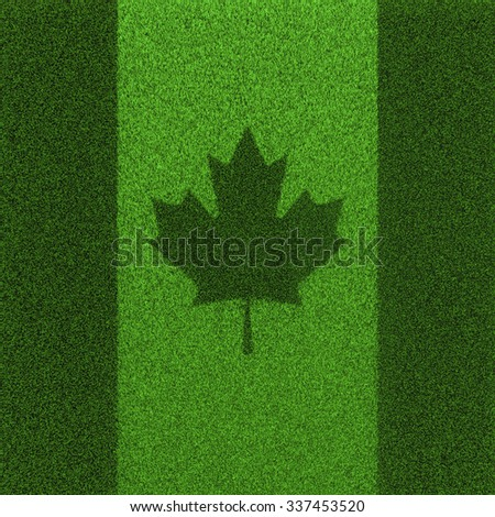 Grass flag Canada / 3D render of Canadian flag grown from grass - stock photo
