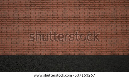 Grass Floor and Bricks Wall Stage Background