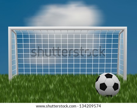 grass football field with ball and gate - 3d render - stock photo