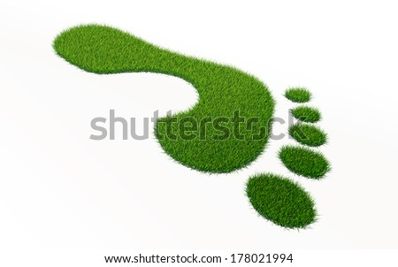 grass footprint ecology concept. clipping path included - stock photo
