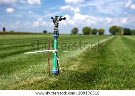 grass garden spring sprinkle water in a row  2 - stock photo
