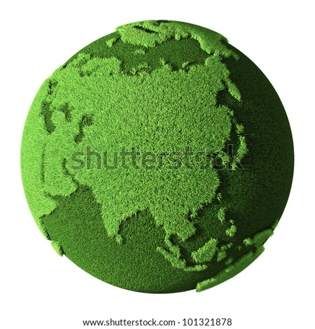 Grass Globe - Asia, isolated on white background. 3d render