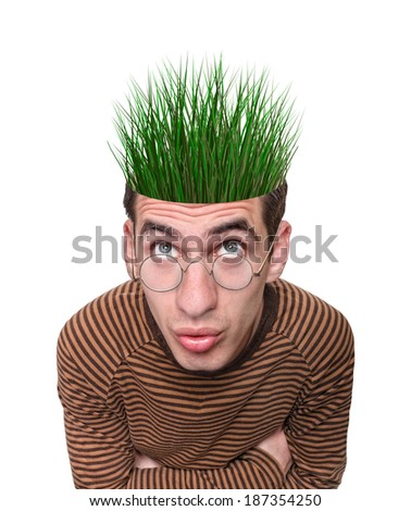 grass growing out of a head