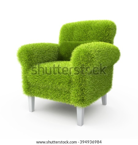 Grass grown on a chair in the design of information related to eco - stock photo