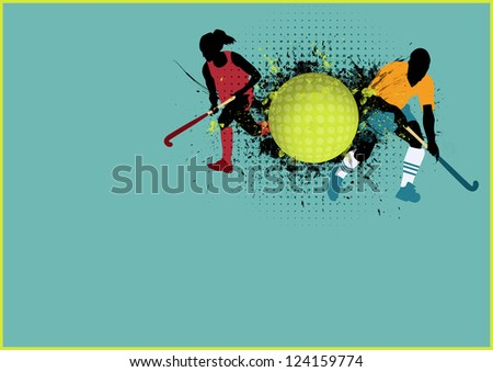 Grass hockey sport poster background with space - stock photo