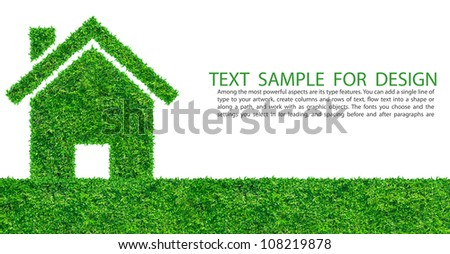 Grass home icon from grass background, isolated on white - stock photo