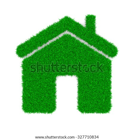 Grass Home Sign Shape on White Background 3D Illustration