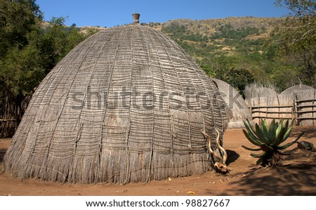 Grass hut in Swaziland southern africa