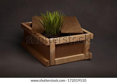 grass in a box for transportation - stock photo