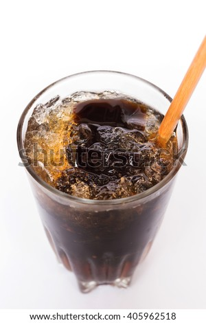 Grass jelly; dessert herbal gelatin with syrup, ice, and brown sugar in vintage glass isolated on white background - stock photo