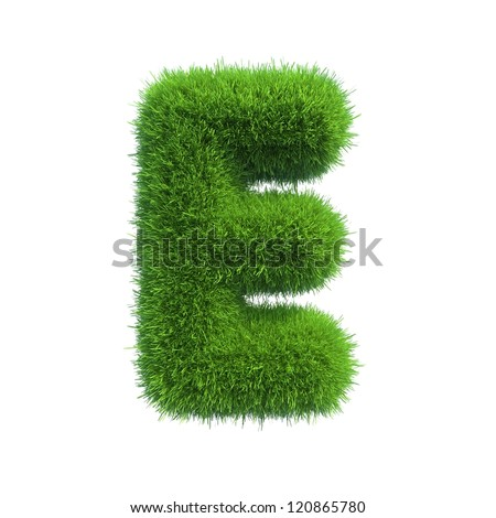 grass letter E isolated on white background - stock photo