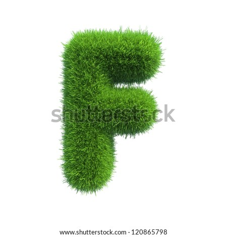 grass letter F isolated on white background - stock photo