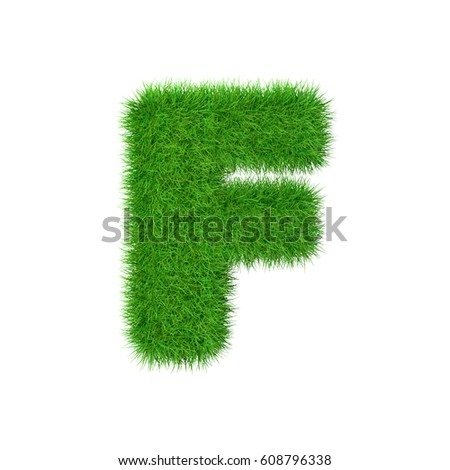 Grass letter F isolated on white, 3d illustration