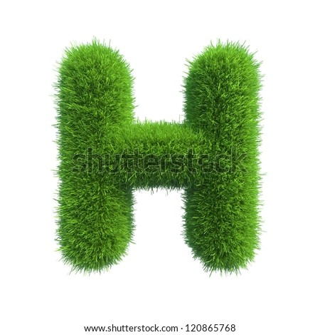 grass letter H isolated on white background - stock photo