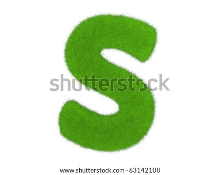 Grass letter isolated on the white background - stock photo