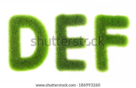 grass letter isolated on white background