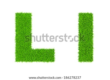 Grass letter L - ecology eco friendly concept character type