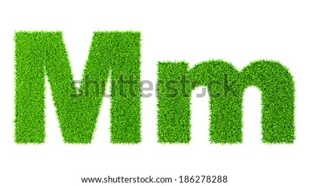 Grass letter M - ecology eco friendly concept character type