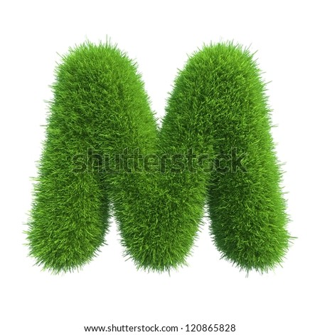 grass letter M isolated on white background - stock photo