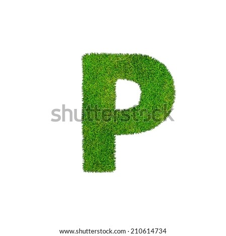 grass letter P isolated on white background  - stock photo