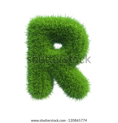 grass letter R isolated on white background - stock photo