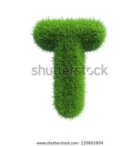 grass letter T isolated on white background - stock photo