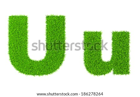 Grass letter U - ecology eco friendly concept character type