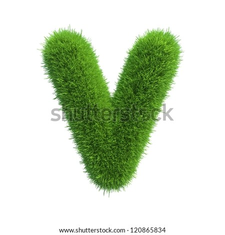grass letter V isolated on white background - stock photo