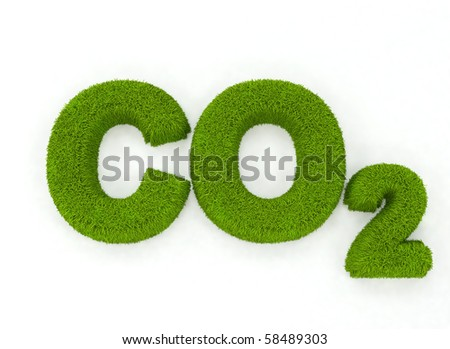 Grass letters spelling the word CO2 - stock photo