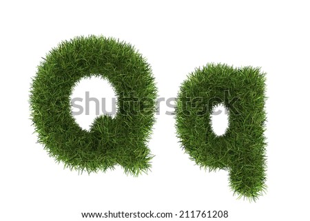 Grass letters, upper and lowercase  - stock photo