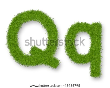 Grass lower-case and upper-case letter Q