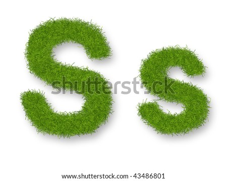 Grass lower-case and upper-case letter S - stock photo