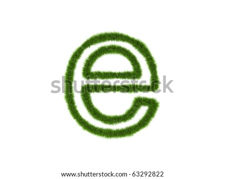 Grass lower-case letter isolated on a white background