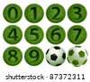 grass number 0 - 9 ball on white background. Isolated 3d model - stock photo