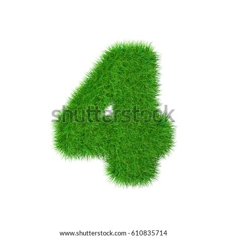 Grass number 4 isolated on white, 3d illustration